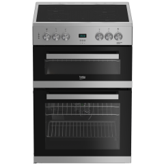 Beko EDC633S 60Cm Double Oven Electric Silver Cooker With Ceramic Hob - A/A Rated
