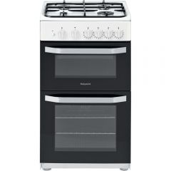 Hotpoint HD5G00KCW 50Cm Twin Cavity White Gas Cooker