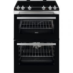 Zanussi ZCV66050XA 60Cm Double Oven Electric Stainless Steel Cooker With Ceramic Hob - A Energy Rate